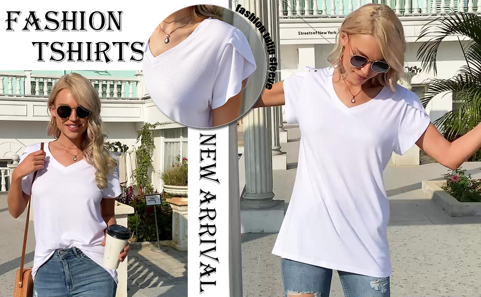 Womens short sleeve v neck casual summer tshirts