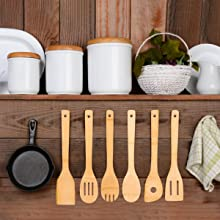 Utensil Set Wooden Cooking Spoons of Bamboo Kitchen