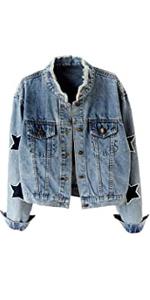 Star Embroidered Rivet Pearl Denim Jacket Coat
