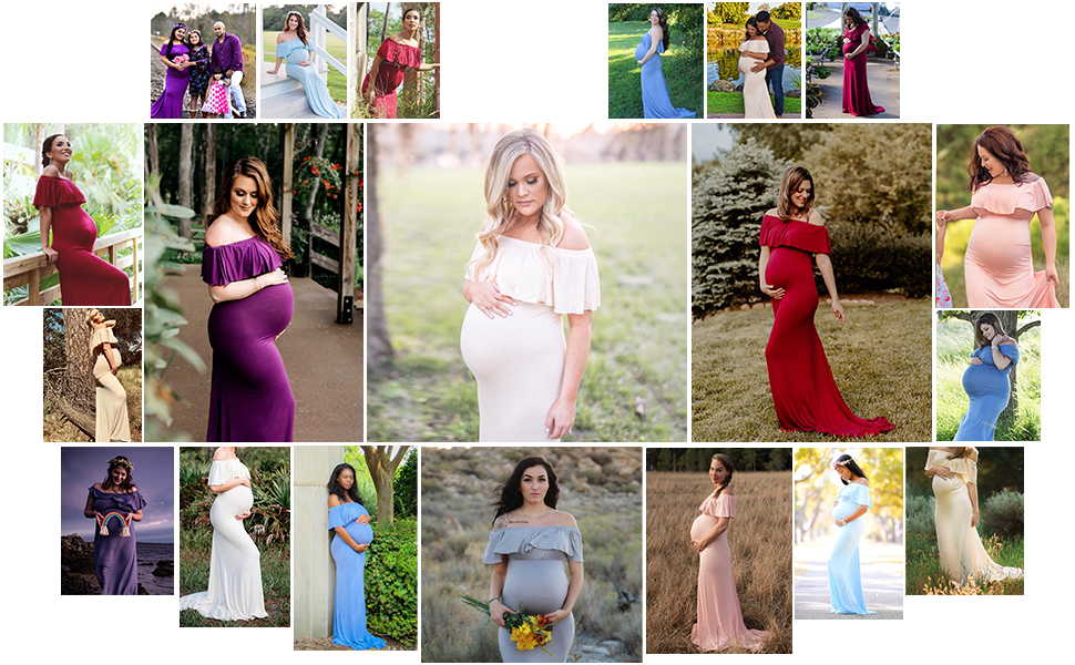 off shoulder ruffle maternity dress
