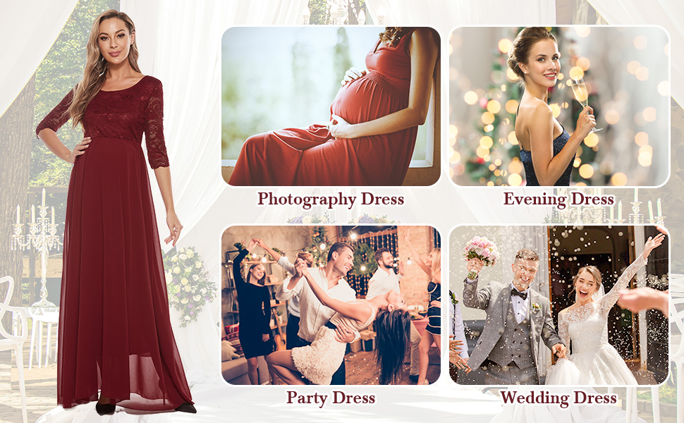 Maternity dresses lace pink blue red burgundy pregnancy maxi dress plus size women maternity clothes