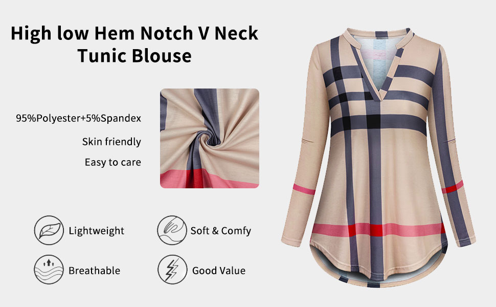 high low hem Notch vneck tunic blouse for young ladies