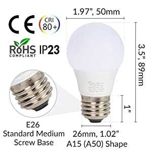 a15 e26 standard medium screw base light bulb dimensions length width diameter ce rohs cri 80 80+