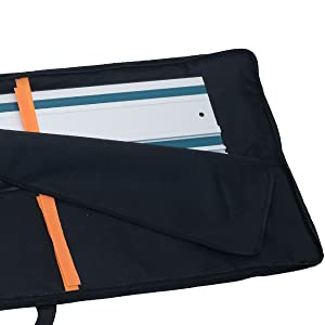 """Rugged Tools Black tough guide rail bag - up to 59"""" - holds 2 pairs, 600D polyester"""