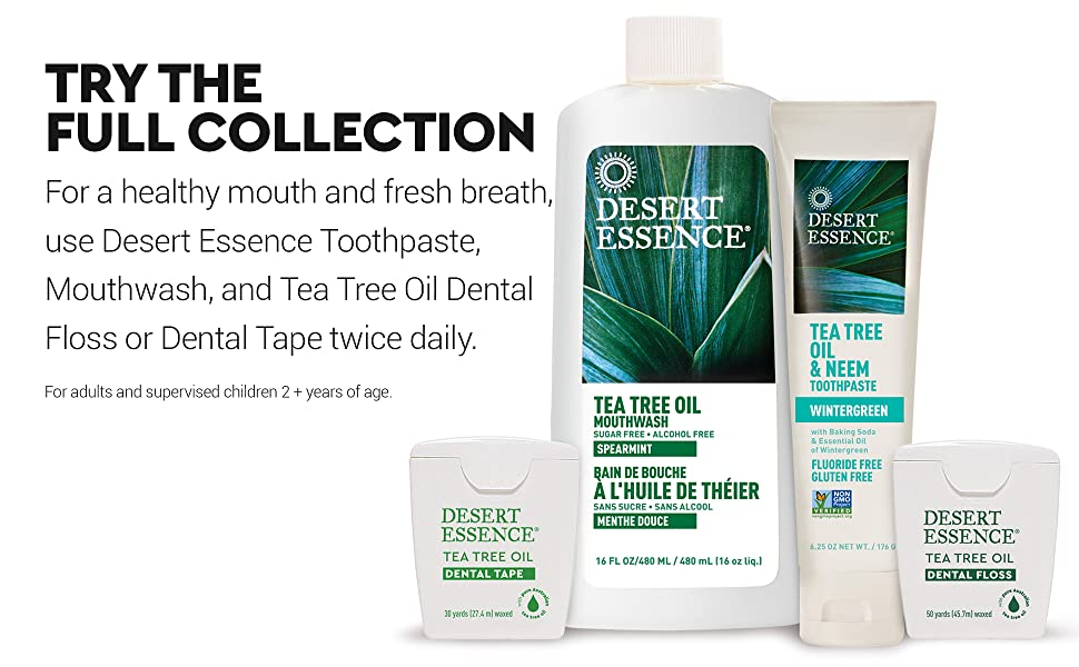 Desert Essence Oral Care Products, Mouthwash Toothpaste Floss Dental Tape