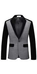 MOGU Men's 1 Button Center Vent Wool Blend Patchwork Blazer Jacket