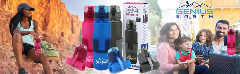 Genius Earth colapseable water bottle confidence trust