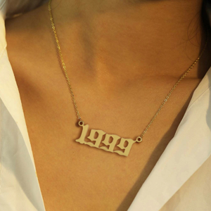 Personalized Birth Year Number Necklace Old English Font Pendant Necklace