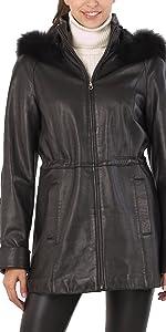 BGSD Women's Lambskin Leather Hooded Parka Coat