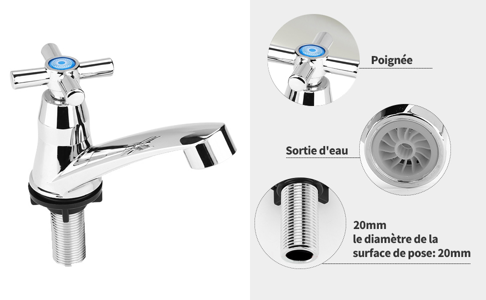 Robinet /à froid simple Chrom/é de bassin Robinet deau pour la maison salle de bain WC lavabo bassin la cuisine 3 type de poign/ée en option poign/ée crois/ée