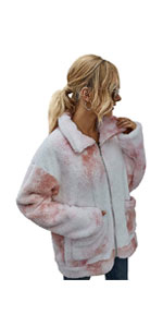 Tie Dye Fuzzy Fleece Jacket
