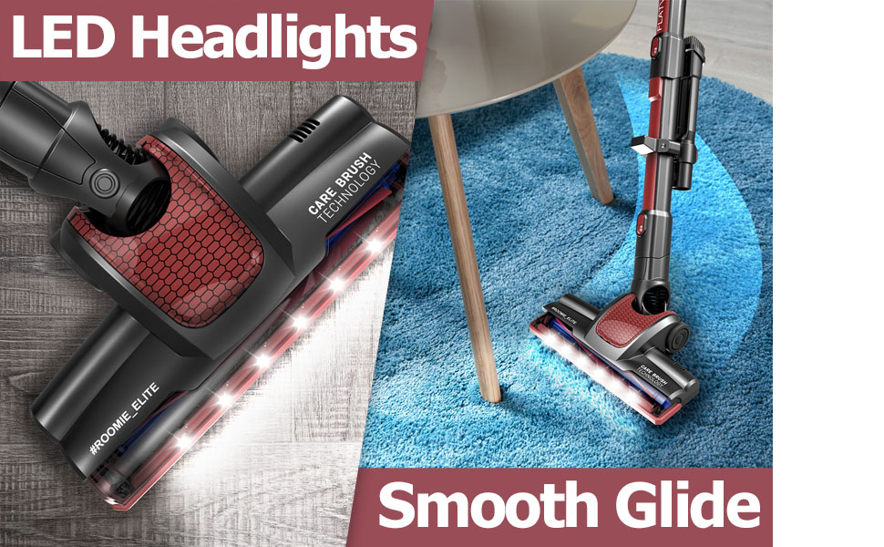 Roomie Tec Cordless Stick vacuum cleaner with LED headlights and 180 highly maneuvable floor brush