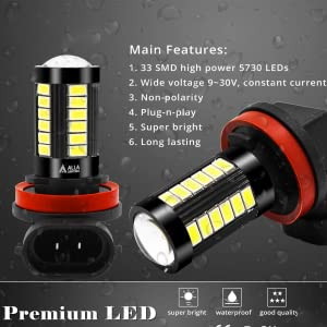 Product Features of Alla SMD H8 H16 H11 6000K White LED Fog Lights Bulbs