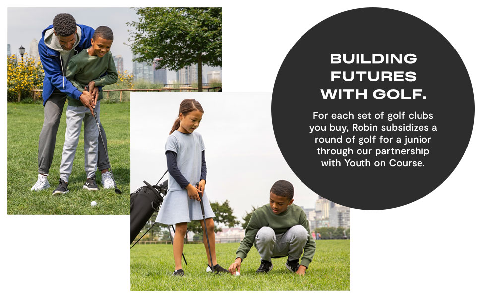 set, junior, club junior golf set for ages 9-12, robin golf, robin golf clubs, robin golf set, kids