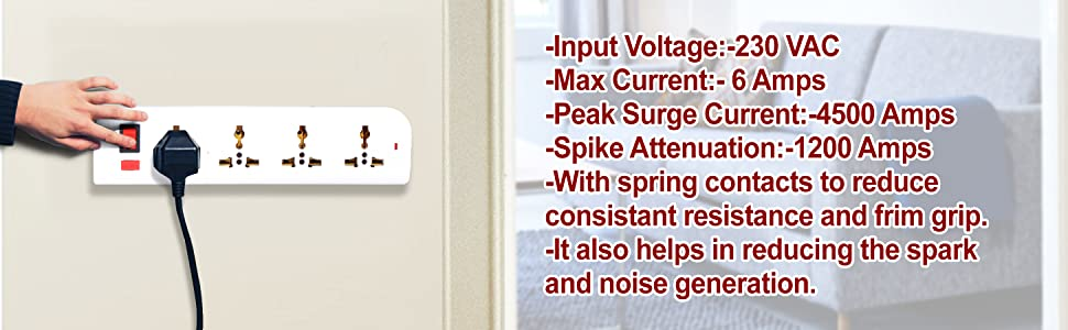 Power strip, strip with 4 power plugs, switches, socket, white power strip, socket for multiple plug