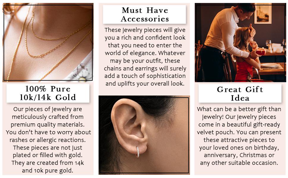 10k golden necklace for women