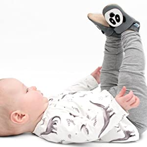 Baby wearing Pitter Patter Panda Baby Shoes from Dotty Fish, baby wearing grey crib shoes with panda