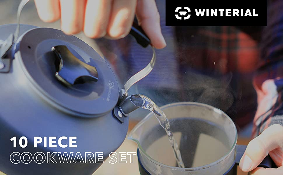 winterial cookware camping dish pot kettle cooking set