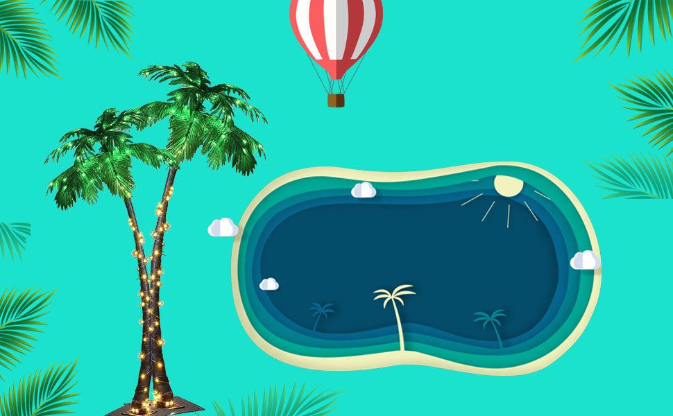 palm tree around swim pool