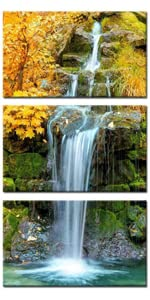 autumn canvas painting waterfall pictures with moving water waterfall paintings for wall autumn