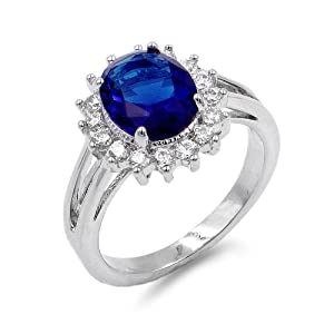 Lavencious Oval Shaped w.CZ  Party Rings in Sapphire Blue
