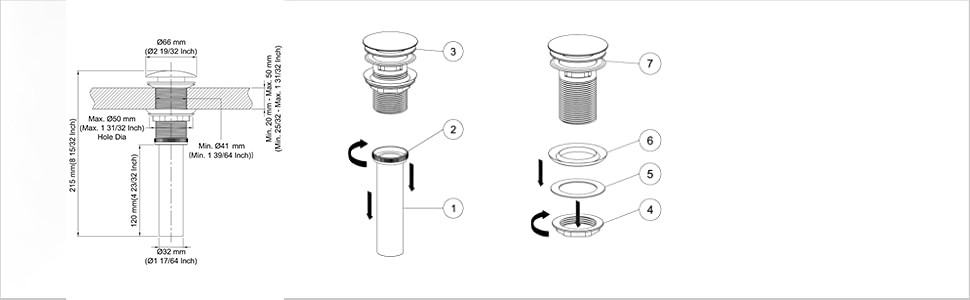 Siphon DN32-40 Washbasin Furniture Siphon Space Saving Smell Stopper Tube █▬█ ▀█▀
