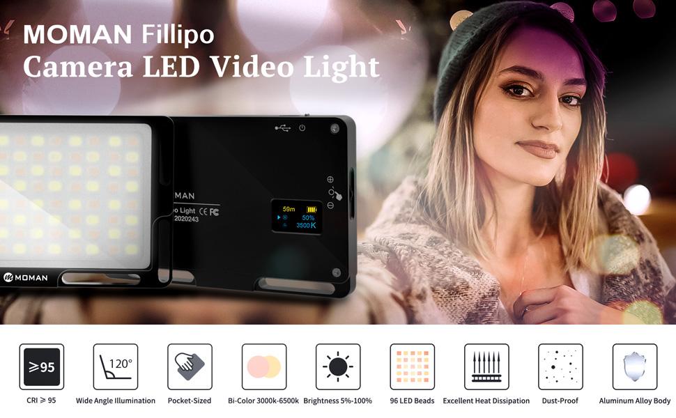 Moman Fillipo Luz LED Cámara de Batería Incorporada, Foco Antorcha ...
