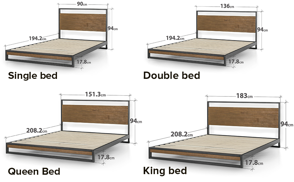 Zinus Suzanne Queen Metal And Pine Wood Platform Bed Frame