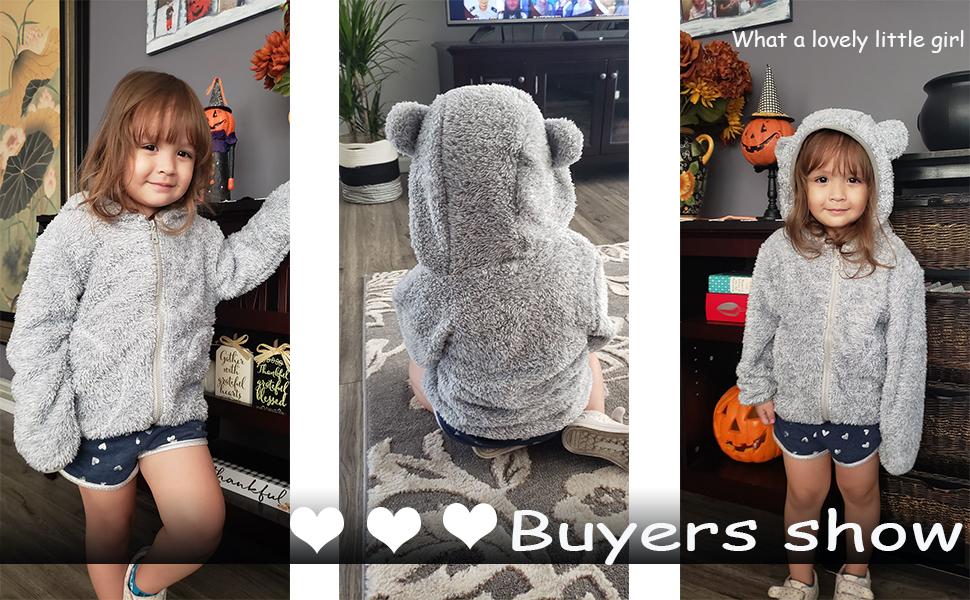 Bfsports Fleece Warm Hoodies Clothes Toddler Zip-up Light Jacket Sweatshirt Bear Ears Shape Outwear for Baby Boys Girls