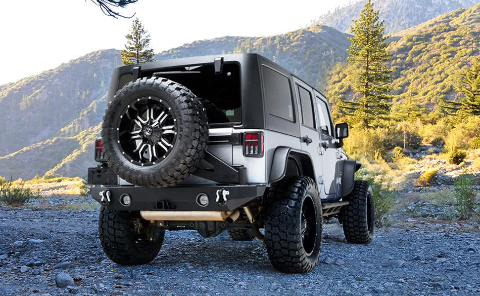 Black textured heavy duty steel rear bumper