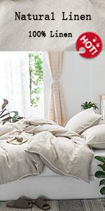 linen duvet cover with pompom