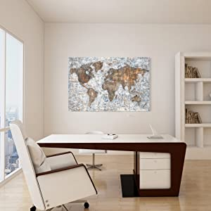 World Map Wall Art For Office