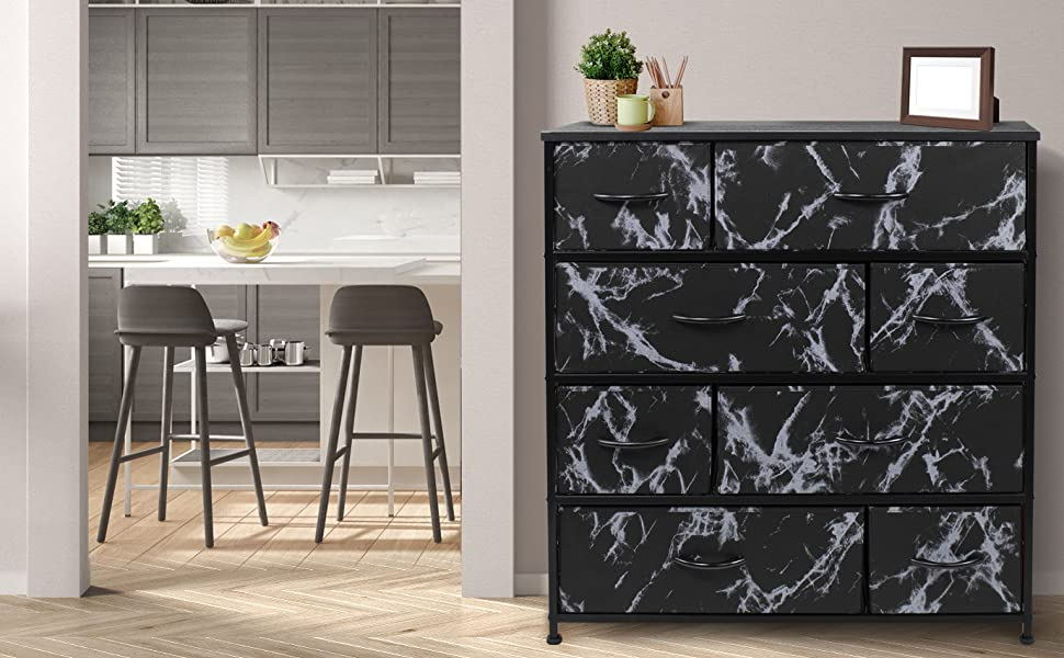 Sorbus Dresser w/ 8 Drawers - Bedroom Furniture Tower Chest - Marble Collection