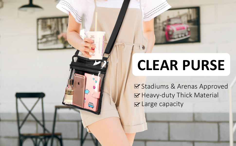 Eoyles gy Clear Bag Stadium Approved 12 x 6 x 12 Crossbody Transparent Purse Shoulder Handbag Men Women Cactus Play Guitar Zippered Security Bag