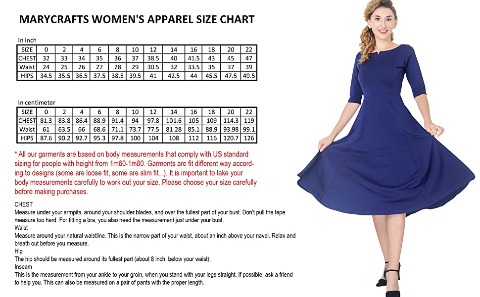 Marycrafts Women's Apparel Size chart
