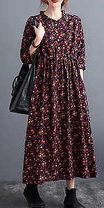 cotton linen dresses for women cusual fall boho Floral Print dress with pocket plus size