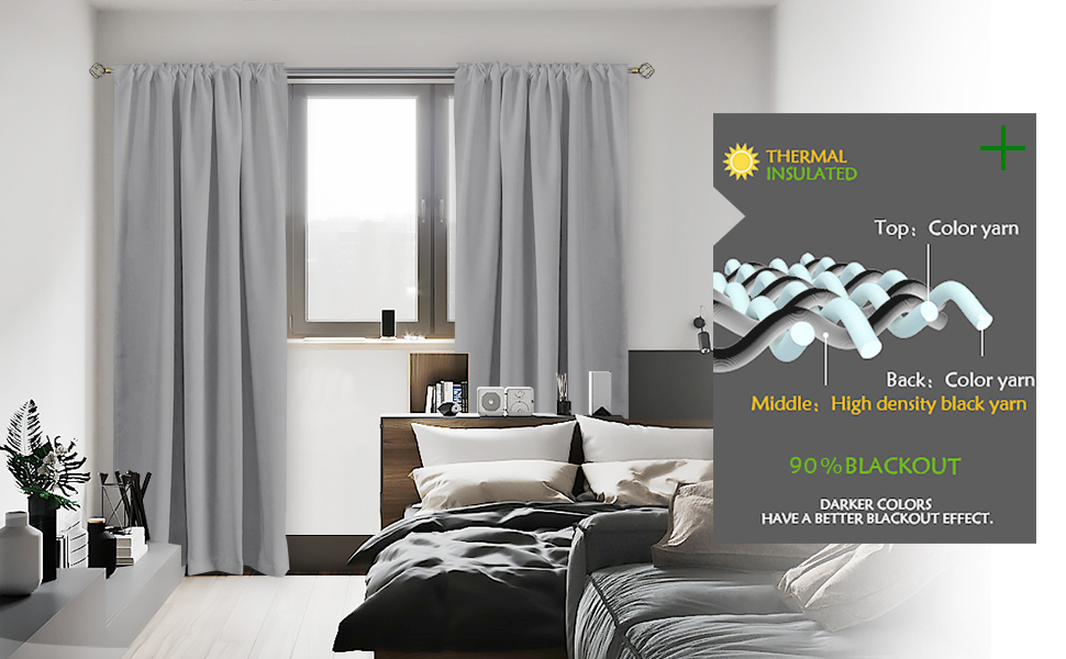 blackout curtains bedroom living room darkening thermal insulated pocket top window drapes 2 panels