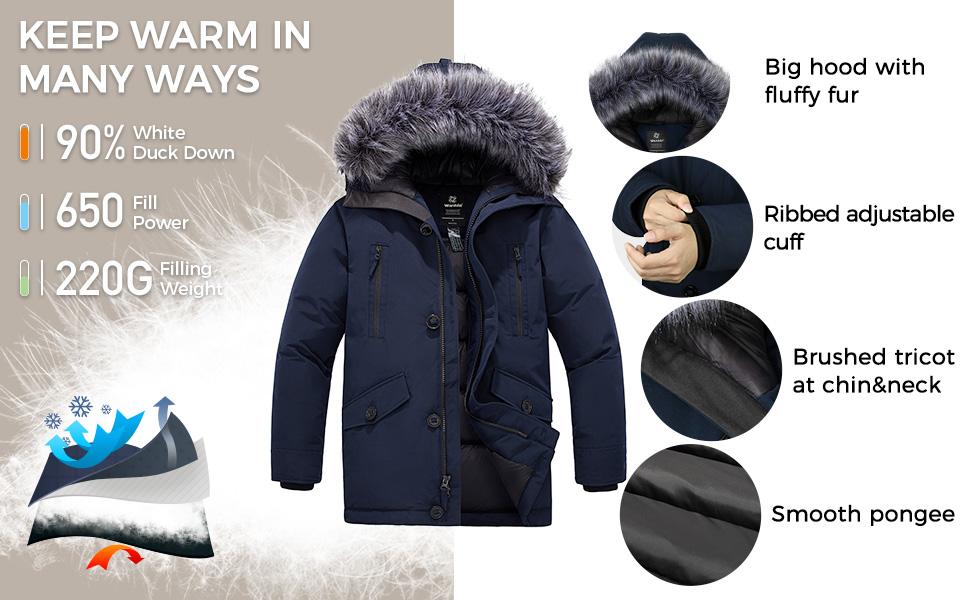 Men's Down Jacket Thicken Parka Coat Winter Warm Puffer Jacket