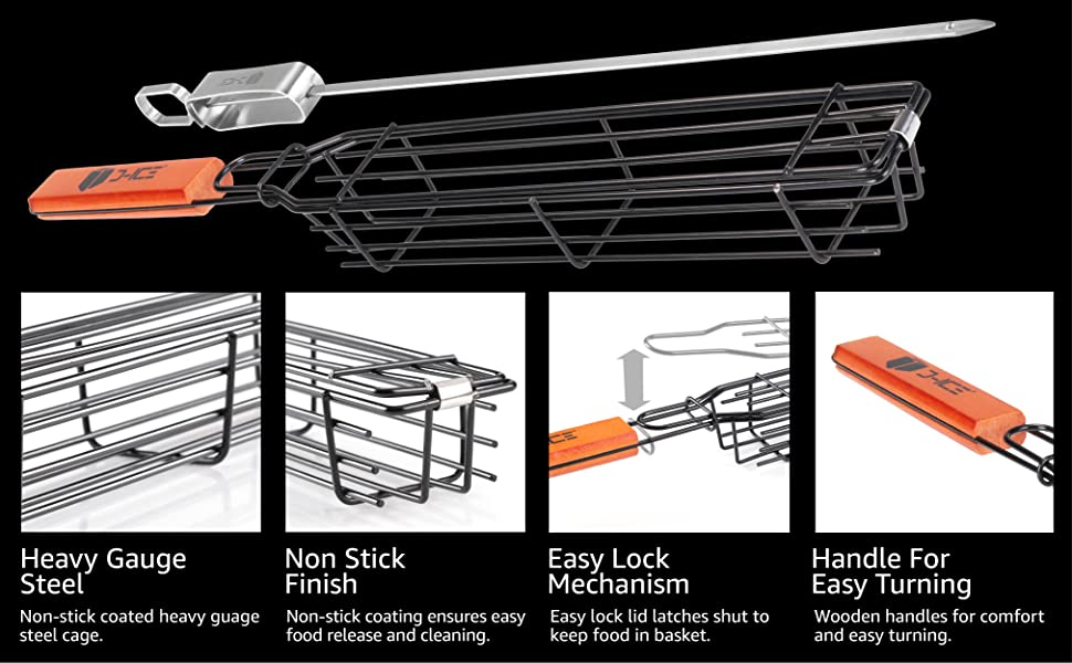 Grilling Baskets are Constructed from a Heavy-Gauge Steel Construction and Wooden Handles