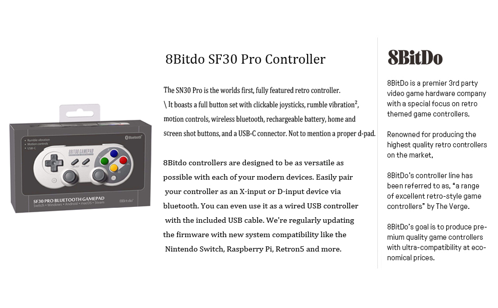 8bitdo SF30 Pro Controller Introduction