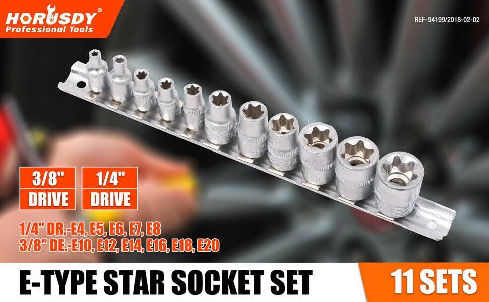 "E18 Star Female Sockets 10pc Set 1//4/"" and 3//8/"" Drive E Sockets E4 Torx"