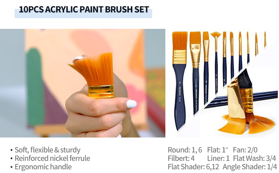 10pcs acrylic paint brush set