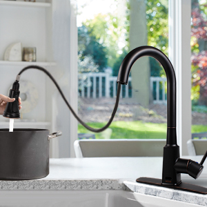 Soosi Motion Sensor Touchless Oil Rubber Bronze Kitchen Faucet