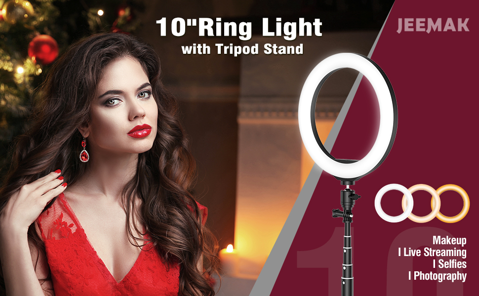 """10"""" LED Selfie Ring Light with Tripod Stand and Phone Holder"""
