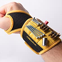 BinyaTools Magnetic Wristband With Super Strong Magnets Holding Screws, Nails, Drill Bit