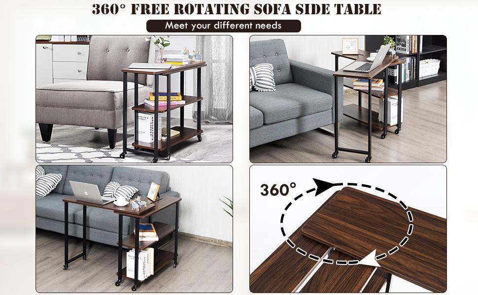 360° Free Rotating Sofa Side Table