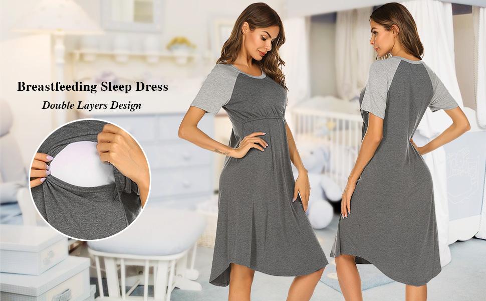 Nursing Sleepwear & Maternity Breastfeeding Nightgown