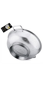 BasicForm Large Size Micro-Perforated Colander with Big Handle and Base Stainless Steel 28.5cm