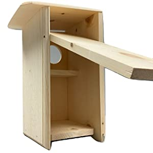 Squirrel House provides for ventilation and drainage. The back panel easily opens for cleaning