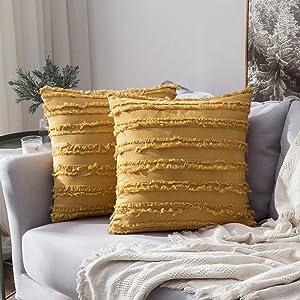 home decor pillow covers cushion warm 18x18 inch boho yellow mustrard light